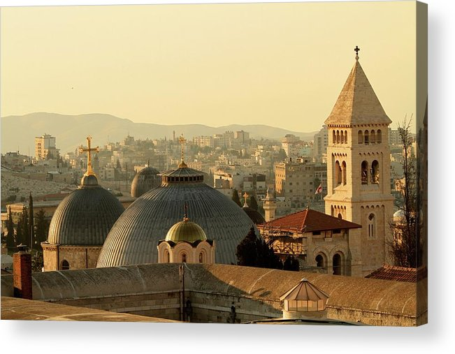 West Bank Acrylic Print featuring the photograph Jerusalem Churches On The Skyline by Picturejohn