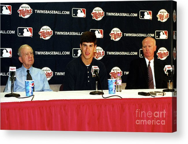 Hubert H. Humphrey Metrodome Acrylic Print featuring the photograph Joe Mauer Press Conference by Mlb Photos
