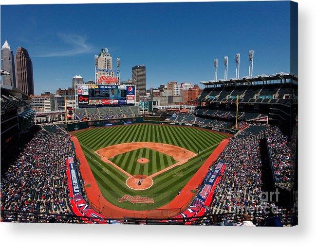 American League Baseball Acrylic Print featuring the photograph Kansas City Royals V Cleveland Indians by Joe Robbins