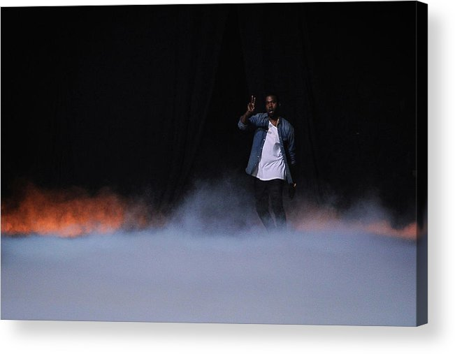 Kanye West - Musician Acrylic Print featuring the photograph Kanye West Show Runway - Paris Fashion by Pascal Le Segretain