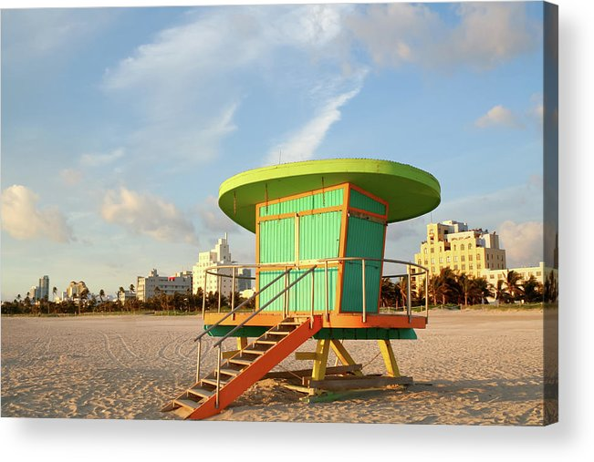 Dawn Acrylic Print featuring the photograph Lifeguard Station At Dawn, South Beach by Travelif