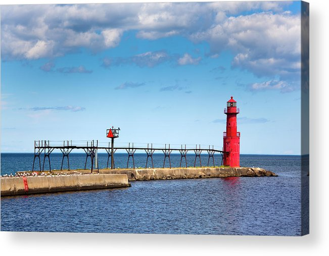 Lake Michigan Acrylic Print featuring the photograph Lighthouse And Pier On Lake Michigan by Jamesbrey