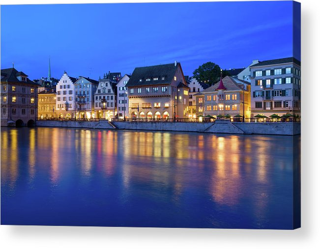 Zurich Acrylic Print featuring the photograph Limmat River Waterfront In Downtown by Benedek