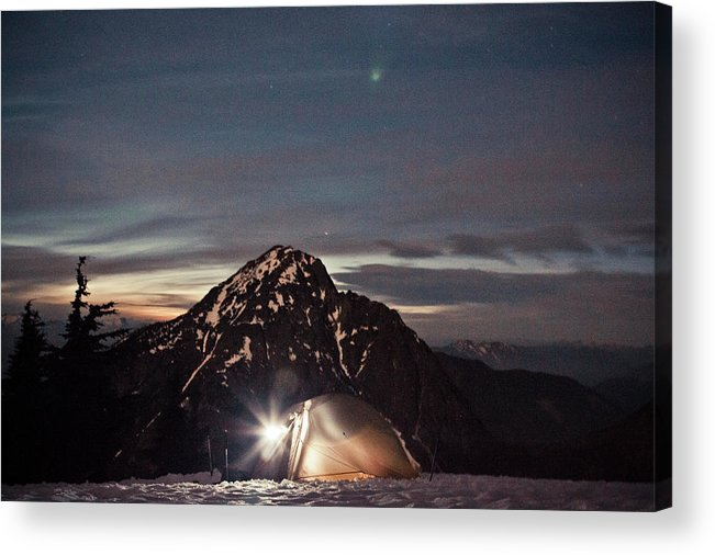 Camping Acrylic Print featuring the photograph Lit Tent At Night by Christopher Kimmel