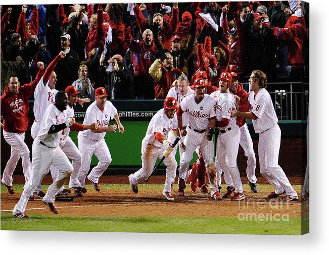 Playoffs Acrylic Print featuring the photograph Los Angeles Dodgers V Philadelphia by Jeff Zelevansky