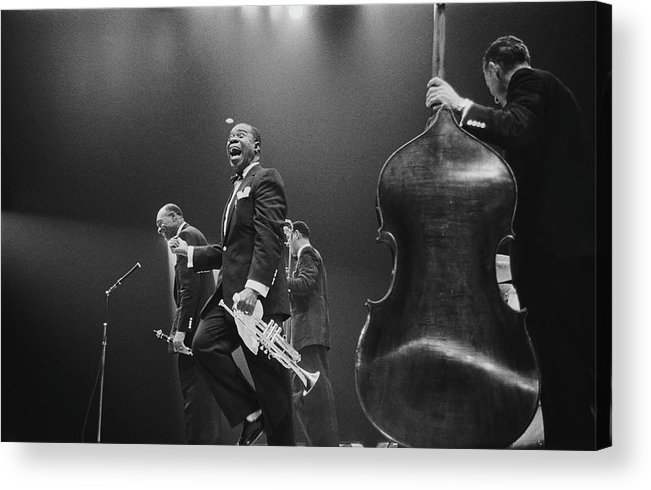 Singer Acrylic Print featuring the photograph Louis Armstrong On Stage by Haywood Magee