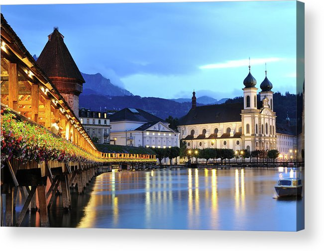 Built Structure Acrylic Print featuring the photograph Lucerne At Dusk by Aimintang