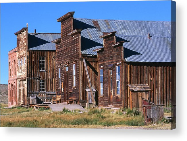 Grass Acrylic Print featuring the photograph Main Street Buildings At Bodie Historic by John Elk Iii