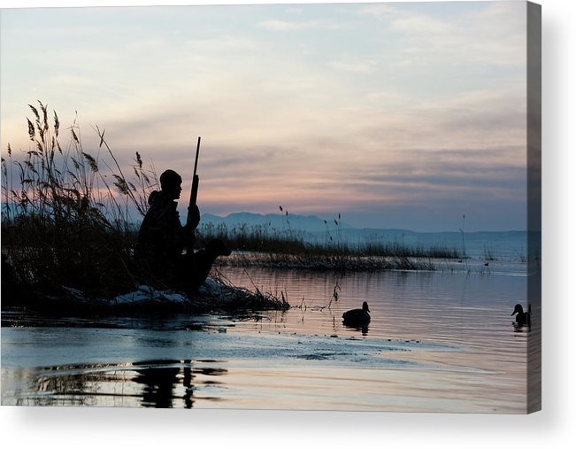 Rifle Acrylic Print featuring the photograph Man Out Hunting by Rubberball Productions