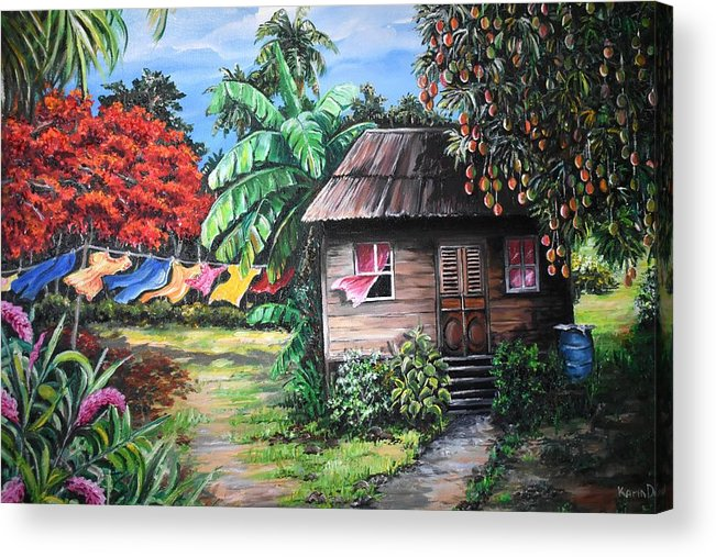 Old House Acrylic Print featuring the painting Mango Season by Karin Dawn Kelshall- Best