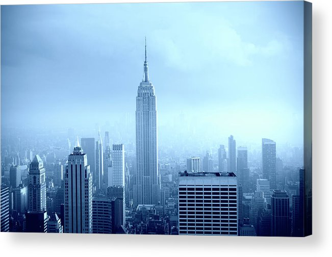 Lower Manhattan Acrylic Print featuring the photograph Manhattan Skyline In The Fog, Nyc. Blue by Lisa-blue