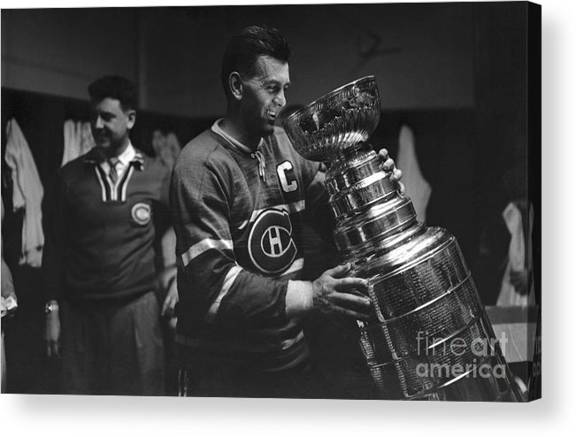 Playoffs Acrylic Print featuring the photograph Maurice Richard Holding Stanley Cup by Bettmann