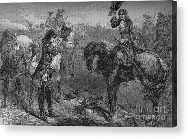 Horse Acrylic Print featuring the drawing Meeting Of William IIi And The Duke by Print Collector