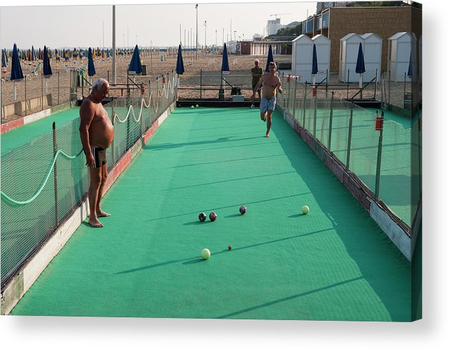 Mature Adult Acrylic Print featuring the photograph Men Play Boccia At Beach by Holger Leue