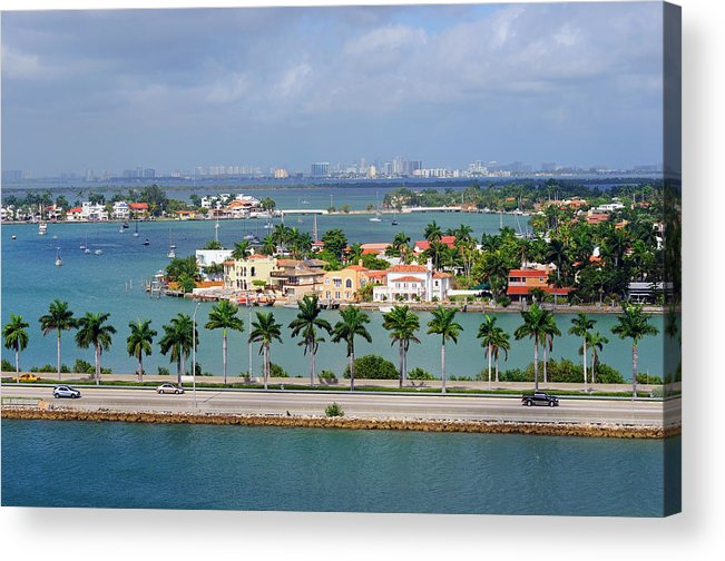 Trading Acrylic Print featuring the photograph Miami Mac Arthur Causeway En Route To by Jfmdesign