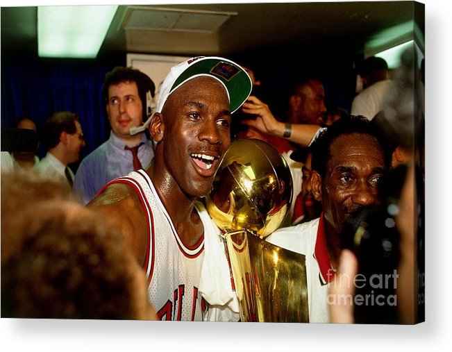 Chicago Bulls Acrylic Print featuring the photograph Michael Jordan Postgame Locker Room by Nathaniel S. Butler