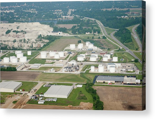 Natural Gas Acrylic Print featuring the photograph Midwest Aerial Oil Refinery by Jennawagner