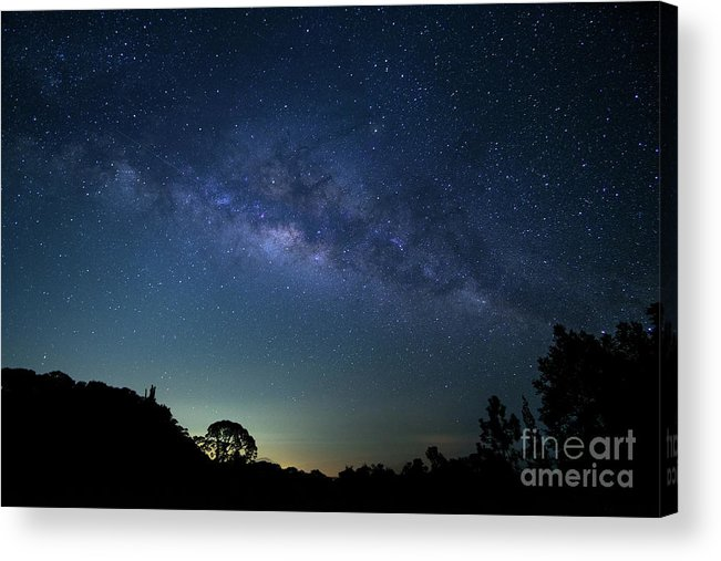 Comet Acrylic Print featuring the digital art Milky Way At Doi Inthanon National by Sirintra Pumsopa