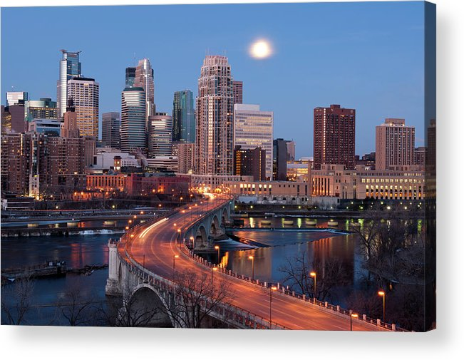 Downtown District Acrylic Print featuring the photograph Minneapolis, Minnesota Skyline by Jenniferphotographyimaging