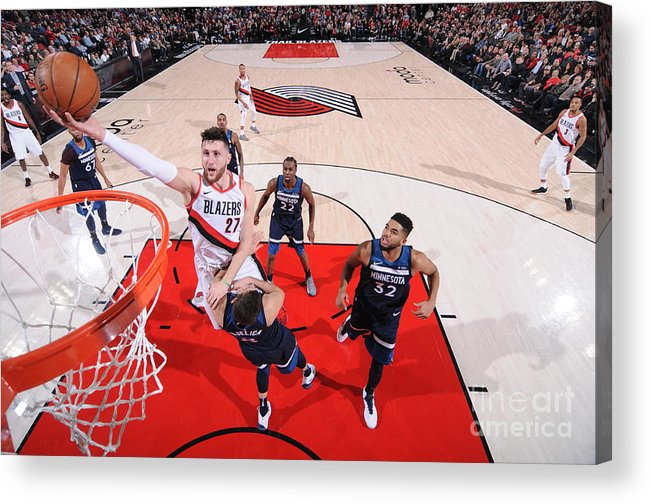 Jusuf Nurkić Acrylic Print featuring the photograph Minnesota Timberwolves V Portland Trail by Sam Forencich