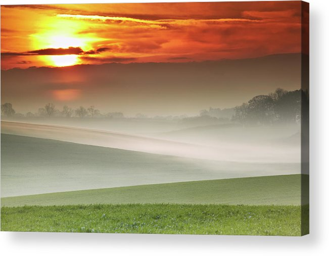 Tranquility Acrylic Print featuring the photograph Mist Over Landscape Of Rolling Hills by Andy Freer