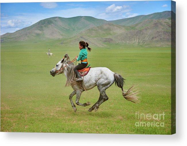 Horse Acrylic Print featuring the photograph Mongolia, Naadam Festival, Horse Racing by Tuul & Bruno Morandi