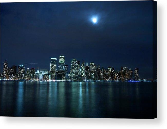 Lower Manhattan Acrylic Print featuring the photograph Moon Light Over New York City by Brandonj74