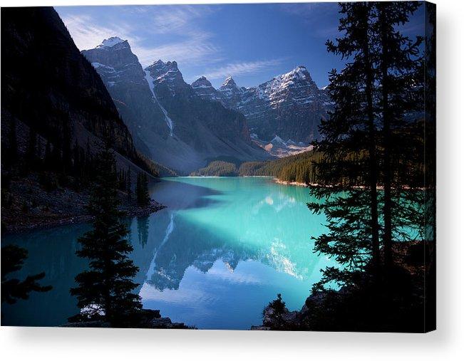 Extreme Terrain Acrylic Print featuring the photograph Moraine Lake, Banff National Park by Dan prat