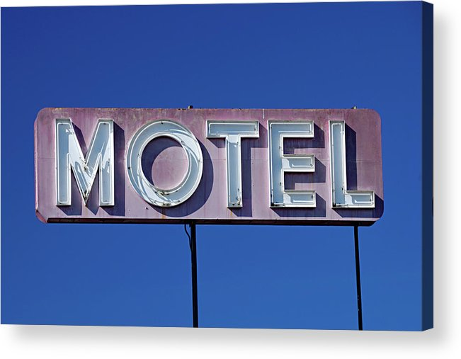 Clear Sky Acrylic Print featuring the photograph Motel Sign by Eyetwist / Kevin Balluff
