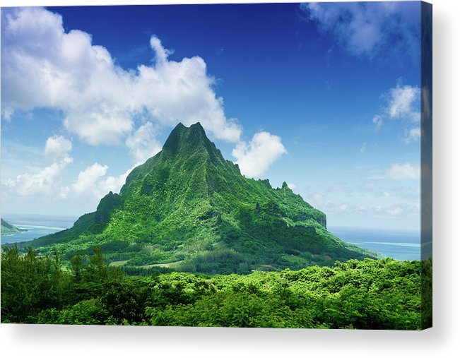 Scenics Acrylic Print featuring the photograph Mount Roto Nui Volcanic Mountain Moorea by Mlenny