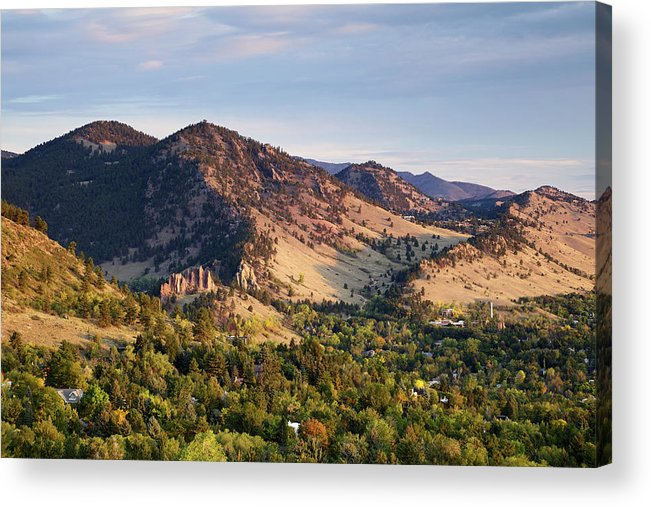 Scenics Acrylic Print featuring the photograph Mount Sanitas And Fall Colors In by Beklaus