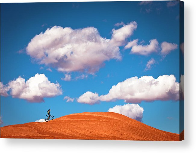 Slickrock Trail Acrylic Print featuring the photograph Mountain Biker Climbing On Slick Rock by Visualcommunications