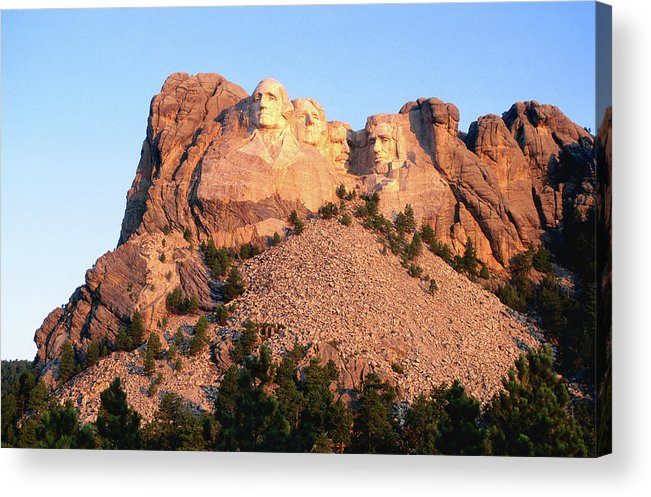 Mt Rushmore National Monument Acrylic Print featuring the photograph Mt Rushmore Memorial Carvings by John Elk
