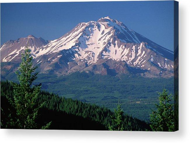 Toughness Acrylic Print featuring the photograph Mt Shasta Across Lake Siskiyou, Mt by John Elk Iii