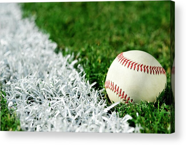 Grass Acrylic Print featuring the photograph New Baseball Along Foul Line by Cmannphoto