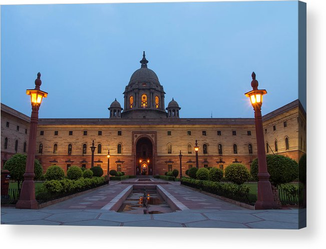 New Delhi Acrylic Print featuring the photograph New Delhi President House At Night by Prognone