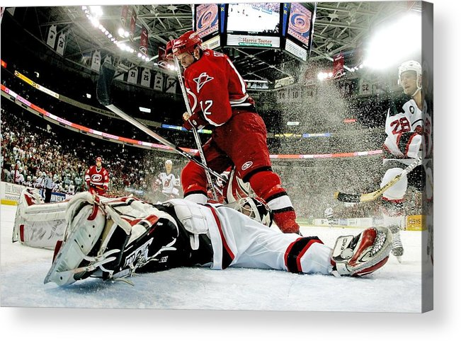 Playoffs Acrylic Print featuring the photograph New Jersey Devils V Carolina Hurricanes by Bruce Bennett