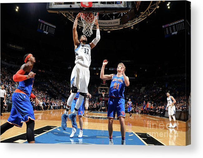 Nba Pro Basketball Acrylic Print featuring the photograph New York Knicks V Minnesota Timberwolves by David Sherman