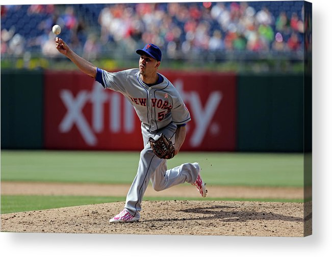 American League Baseball Acrylic Print featuring the photograph New York Mets V Philadelphia Phillies by Hunter Martin