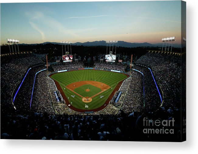 American League Baseball Acrylic Print featuring the photograph Nlcs - Chicago Cubs V Los Angeles by Josh Lefkowitz