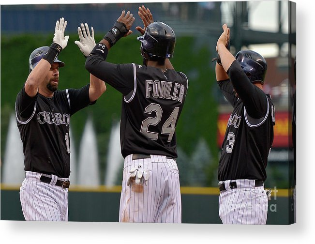 American League Baseball Acrylic Print featuring the photograph Oakland Athletics V Colorado Rockies by Doug Pensinger