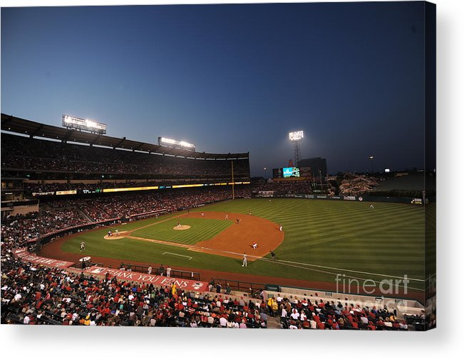American League Baseball Acrylic Print featuring the photograph Oakland Athletics V Los Angeles Angels by Rich Pilling