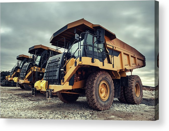 Construction Machinery Acrylic Print featuring the photograph Off-highway Dump Trucks by Shaunl