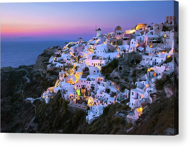 Greek Culture Acrylic Print featuring the photograph Oia Lights At Sunset by Greg Gibb Photography