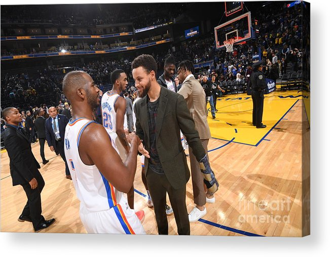 Nba Pro Basketball Acrylic Print featuring the photograph Oklahoma City Thunder V Golden State by Noah Graham