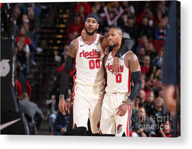 Nba Pro Basketball Acrylic Print featuring the photograph Oklahoma City Thunder V Portland Trail by Sam Forencich