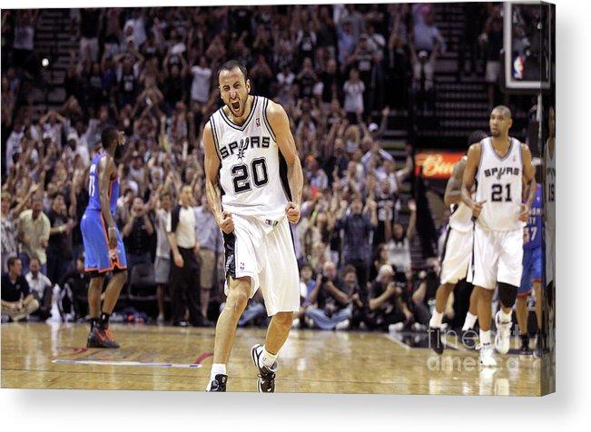 Playoffs Acrylic Print featuring the photograph Oklahoma City Thunder V San Antonio by Layne Murdoch