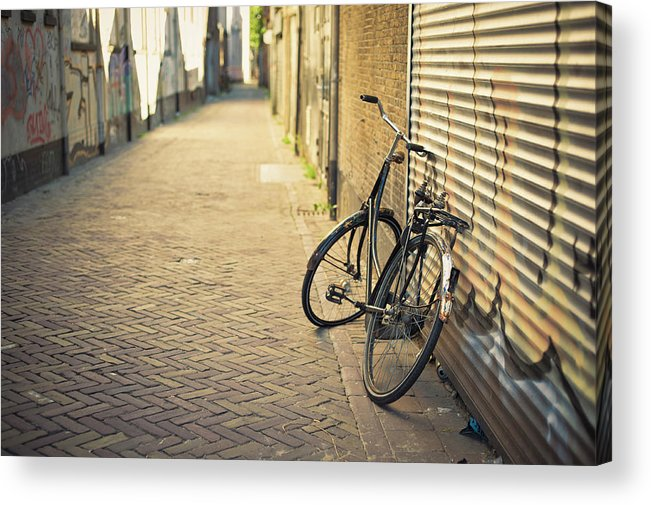 People Acrylic Print featuring the photograph Old Abandoned Bicycle Leaning On The by Cirano83
