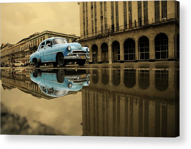 Arch Acrylic Print featuring the photograph Old Blue Car In Havana by 1001nights
