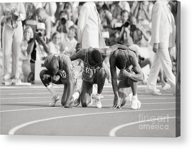 Thank You Acrylic Print featuring the photograph Olympic Medal Winners Pray In Thanks by Bettmann